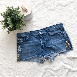 7 For All Mankind Studded Cut Off Denim Shorts